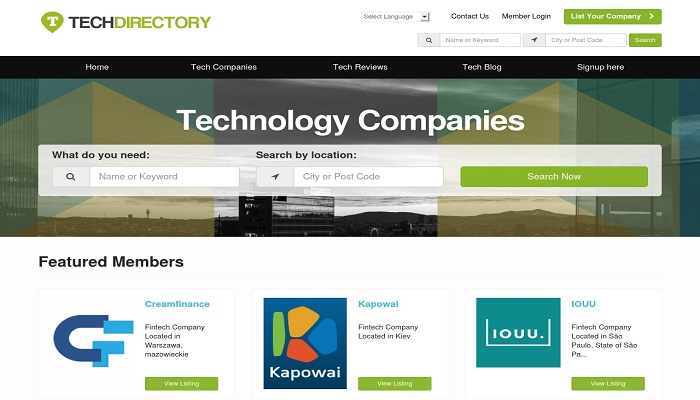 Tech Directory Website
